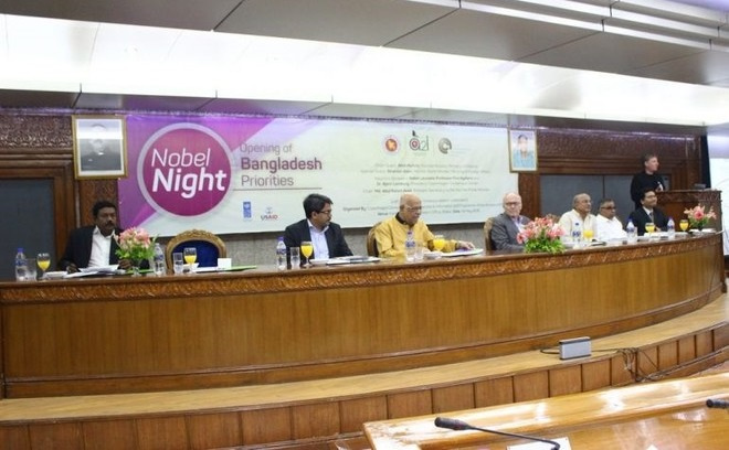 From right: Dr. Bjorn Lomborg, President of Copenhagen Consensus Center, is speaking at the Nobel Night: Opening of Bangladesh Priorities event organized on 08 May, 2016. Other members in the podium include (from right): Anir Chowdhury, Policy Advisor, Access to Information (A2I), Prime Minister's Office (PMO), AbulKalam Azad, Principal Secretary to the Prime Minister, PMO, Dr. Tawfiq-e-Elahi Chowdhury, BirBakram, Energy Adviser to the Prime Minister,Professor Finn Kydland, Nobel Laureate Economist, AMA Muhith, Minister, Ministry of Finance, ShahriarAlam, State Minister, Ministry of Foreign Affairs, and Kabir Bin Anwar, Director General, PMO and Project Director, A2I.