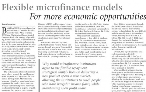 Flexible microfinance models - For more economic opportunities image